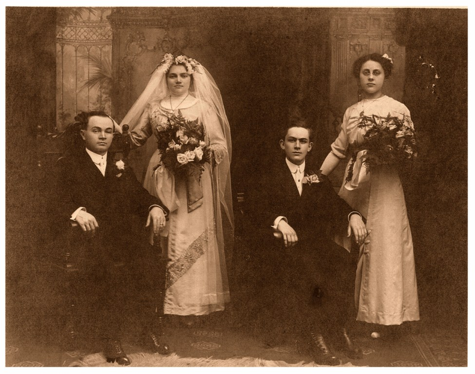 Wedding photo of John Moenich and Antonia Eiben  St. Boniface Church, Cleveland/OH, March 25., 1913