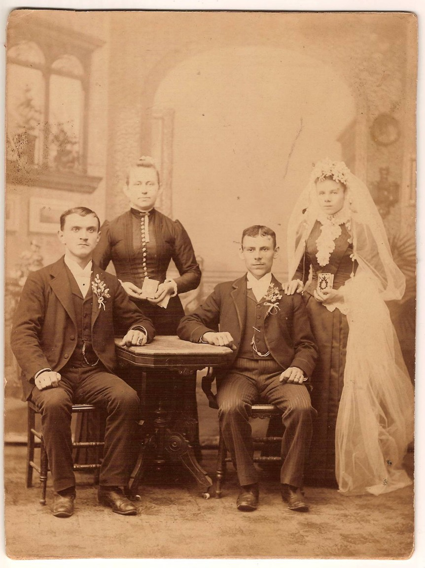 Joseph Rusnak and Judith Franz<br> (on the left side of the bridal couple)